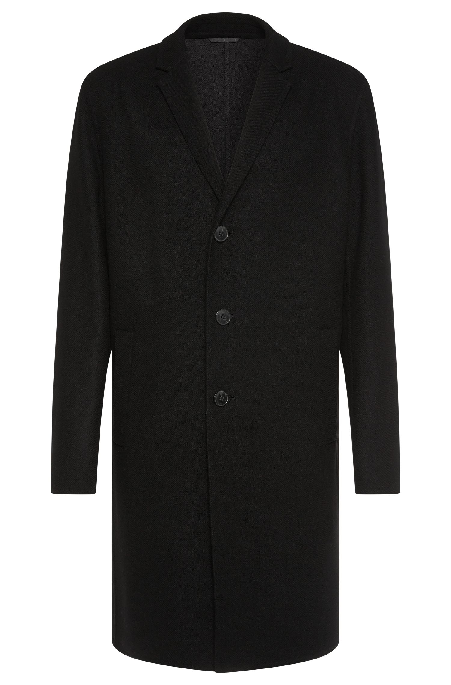 Regular-fit coat in new-wool blend with lapel collar: 'Madeo'
