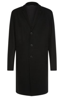 Regular-fit coat in new-wool blend with lapel collar: 'Madeo', Black