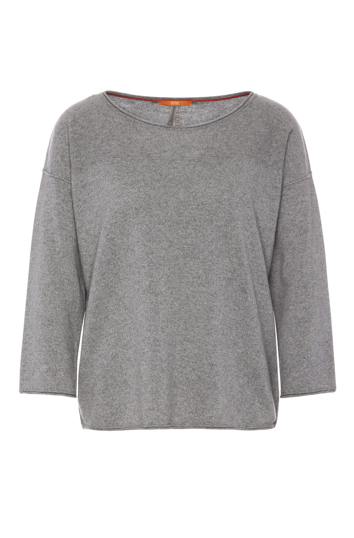 Relaxed-fit sweater in cashmere blend with wool: 'Wemilia'