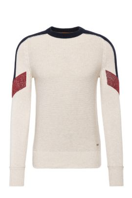 Slim-fit cotton sweater with contrasting accents: 'Amarcynt', Natural
