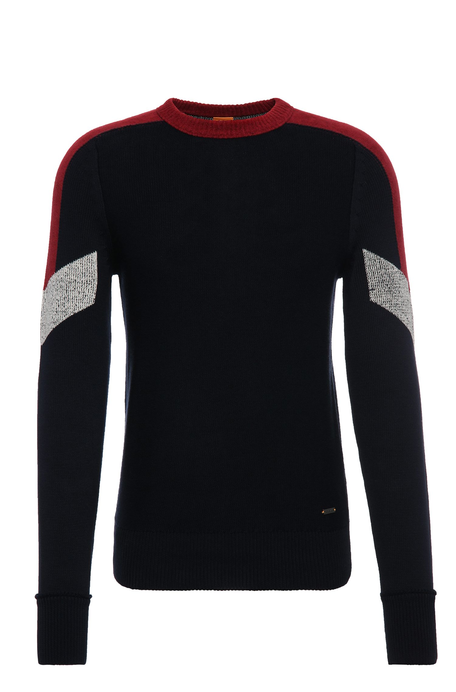 Slim-fit cotton sweater with contrasting accents: 'Amarcynt'