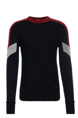 Slim-fit cotton sweater with contrasting accents: 'Amarcynt', Dark Blue