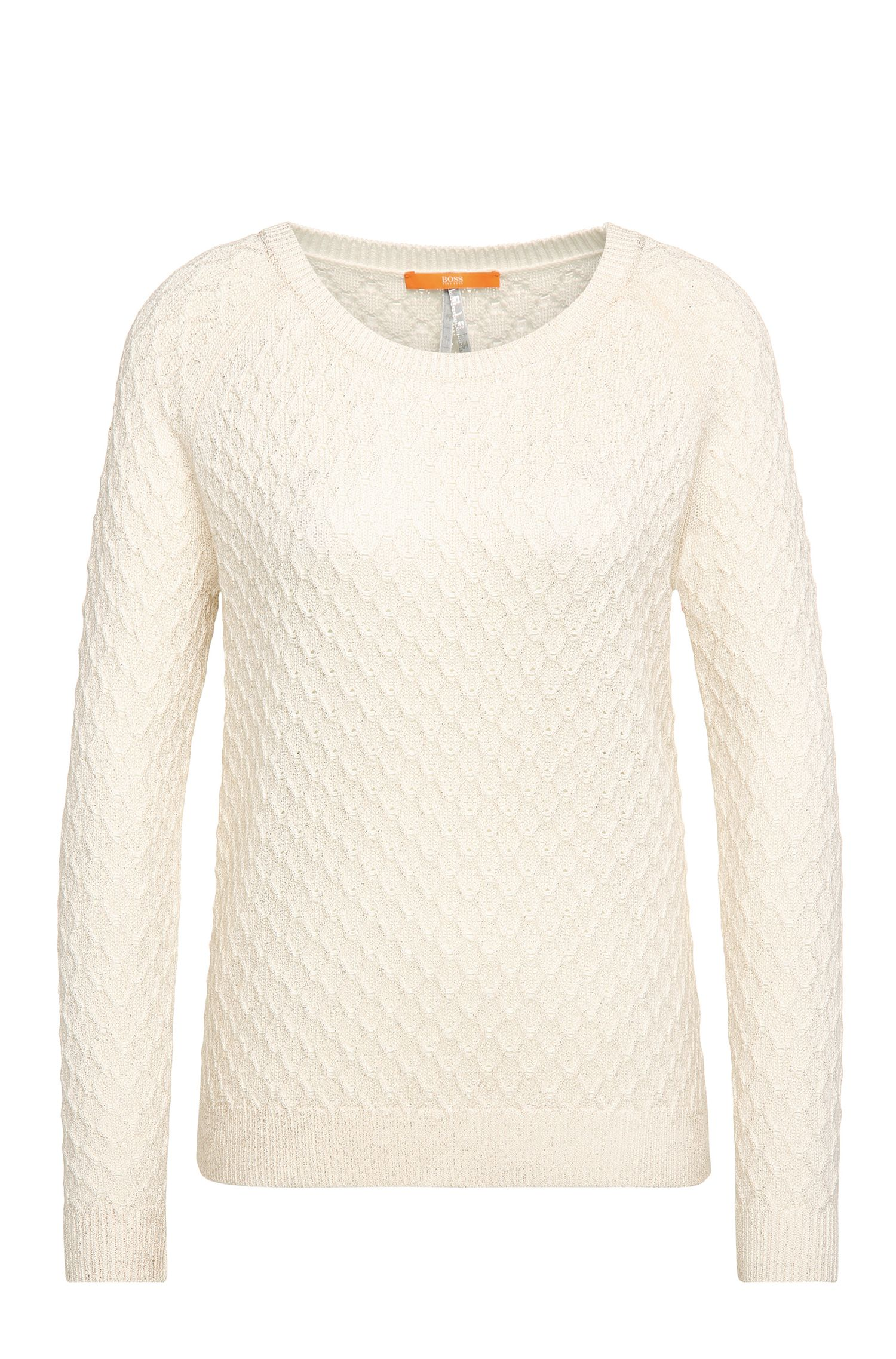 Textured relaxed-fit sweater in cotton blend with viscose and silk: 'Ibammy'
