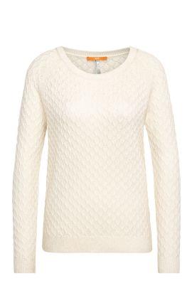 Jersey relaxed fit con textura en mezcla de algodón con viscosa y seda: 'Ibammy', Natural