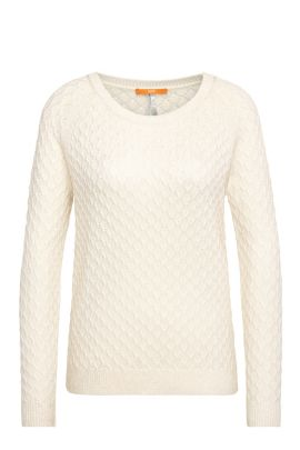 Textured relaxed-fit sweater in cotton blend with viscose and silk: 'Ibammy', Natural