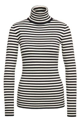 Slim-fit polo neck sweater in stretch cotton blend with viscose and silk: 'Ismilla', Patterned