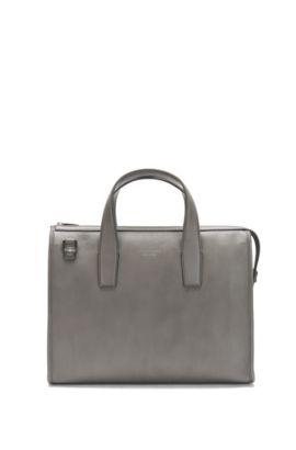 Tasche aus gemasertem Leder: 'Elegance_Slim doc', Grau