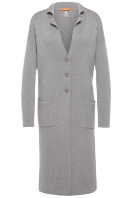 Long comfort-fit cardigan in cotton blend with silk: 'Ilvanova', Grey