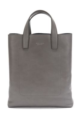 Shopper in grained leather: 'Elegance_Tote', Grey