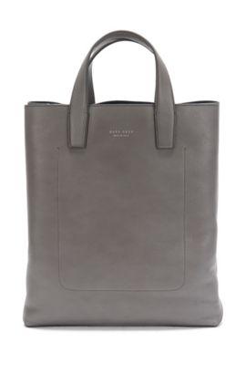 Shopper aus gemasertem Leder: 'Elegance_Tote', Grau