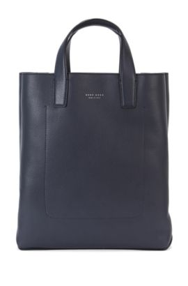 Shopper in grained leather: 'Elegance_Tote', Dark Blue