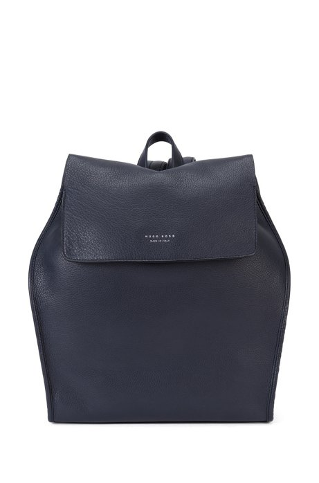 Tailored leather rucksack with drawstring: 'Elegance Backpack', Dark Blue