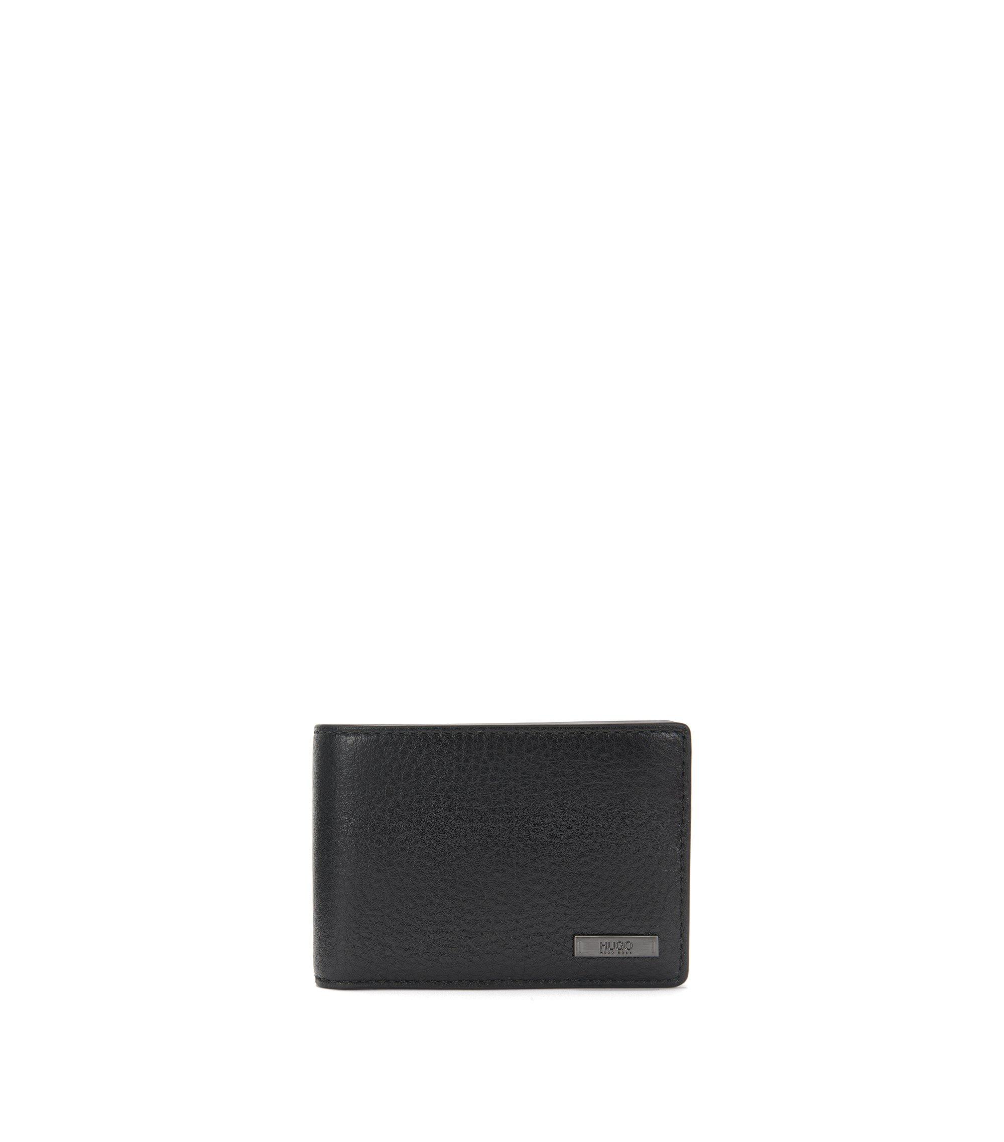 Geldbörse aus Leder mit Metall-Details, Schwarz