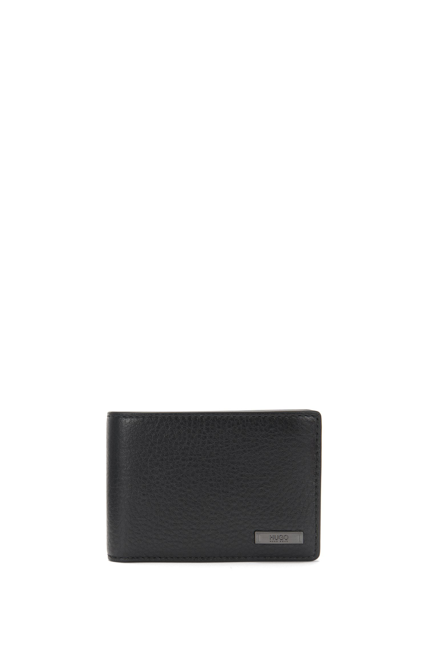Leather wallet with gunmetal hardware