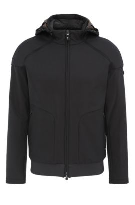 Regular-fit bomber jacket in a stretchy material blend with detachable hood: 'Jeter', Anthracite