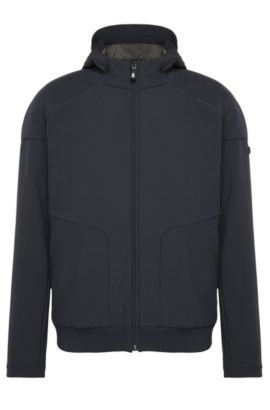 Regular-fit bomber jacket in a stretchy material blend with detachable hood: 'Jeter', Dark Blue