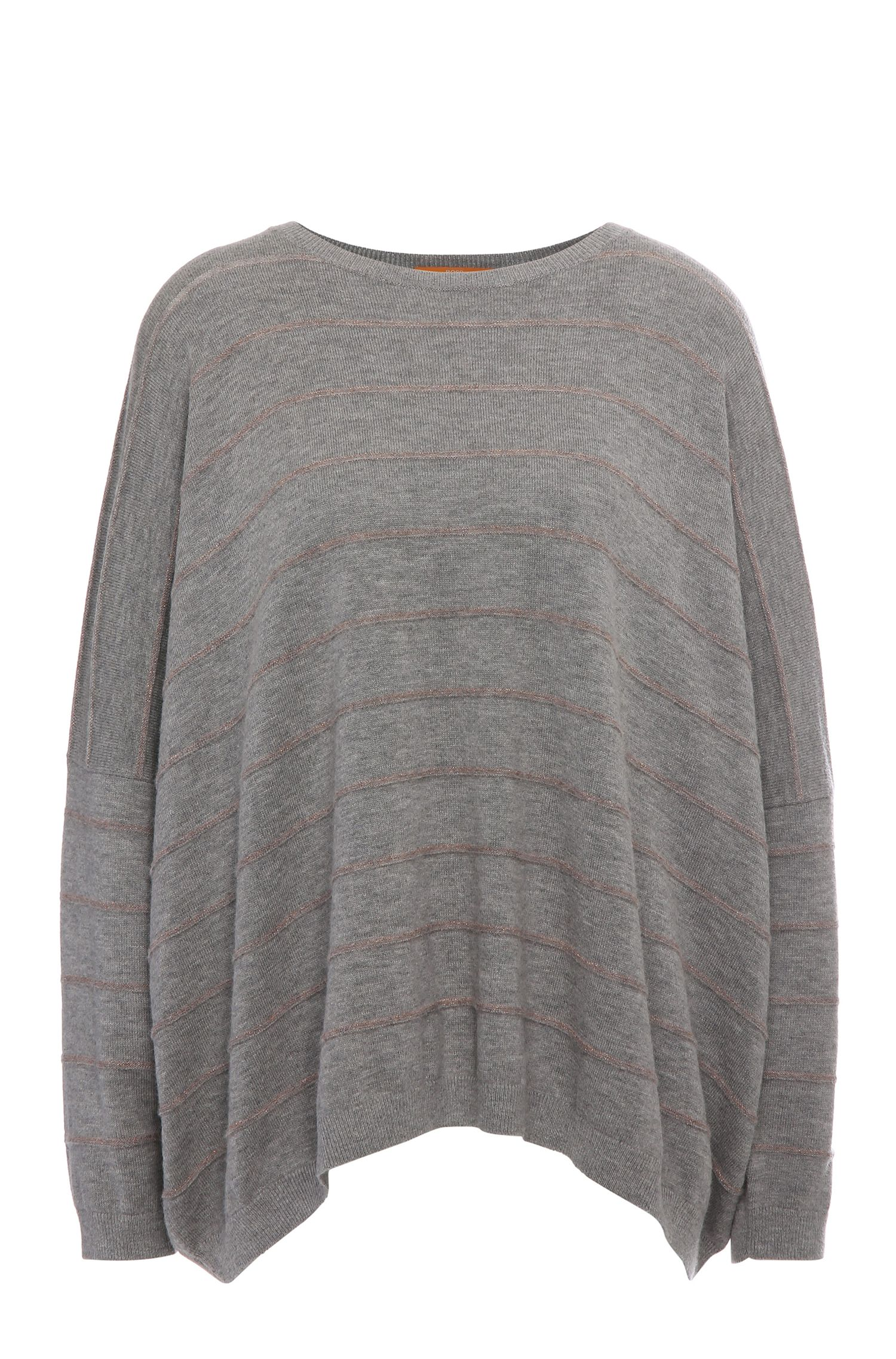 Striped relaxed-fit sweater in fabric blend with new wool, alpaca and metal fibres: 'Izusal'