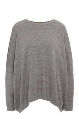 Striped relaxed-fit sweater in fabric blend with new wool, alpaca and metal fibres: 'Izusal', Grey