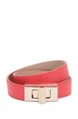 BOSS Bespoke wrap-around bracelet in leather, Pink
