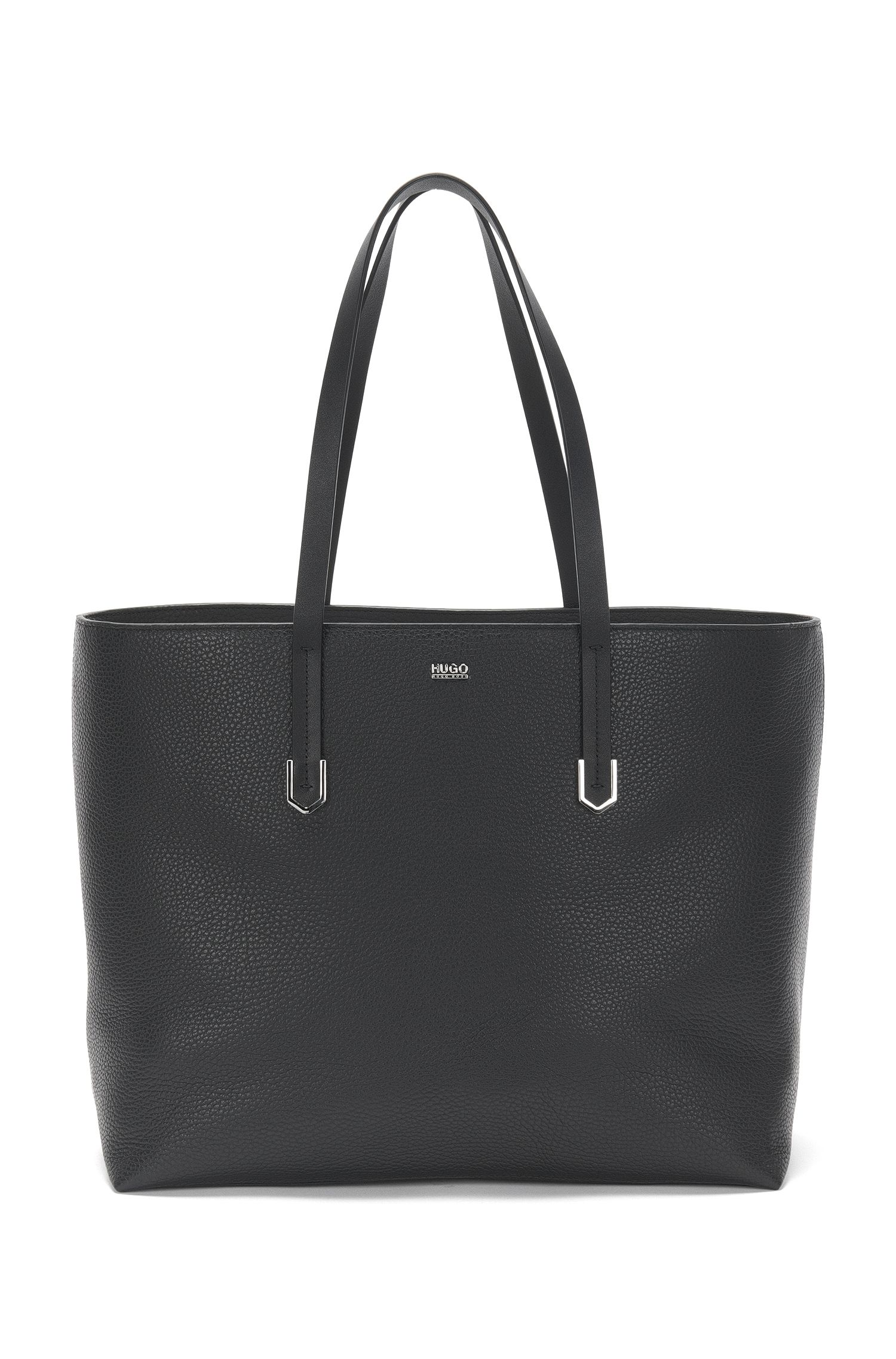 Leather shopper bag with polished hardware