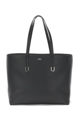 Leather shopper bag with polished hardware, Black