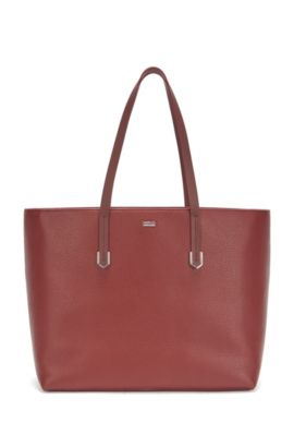 Leather shopper bag with polished hardware, Dark Red