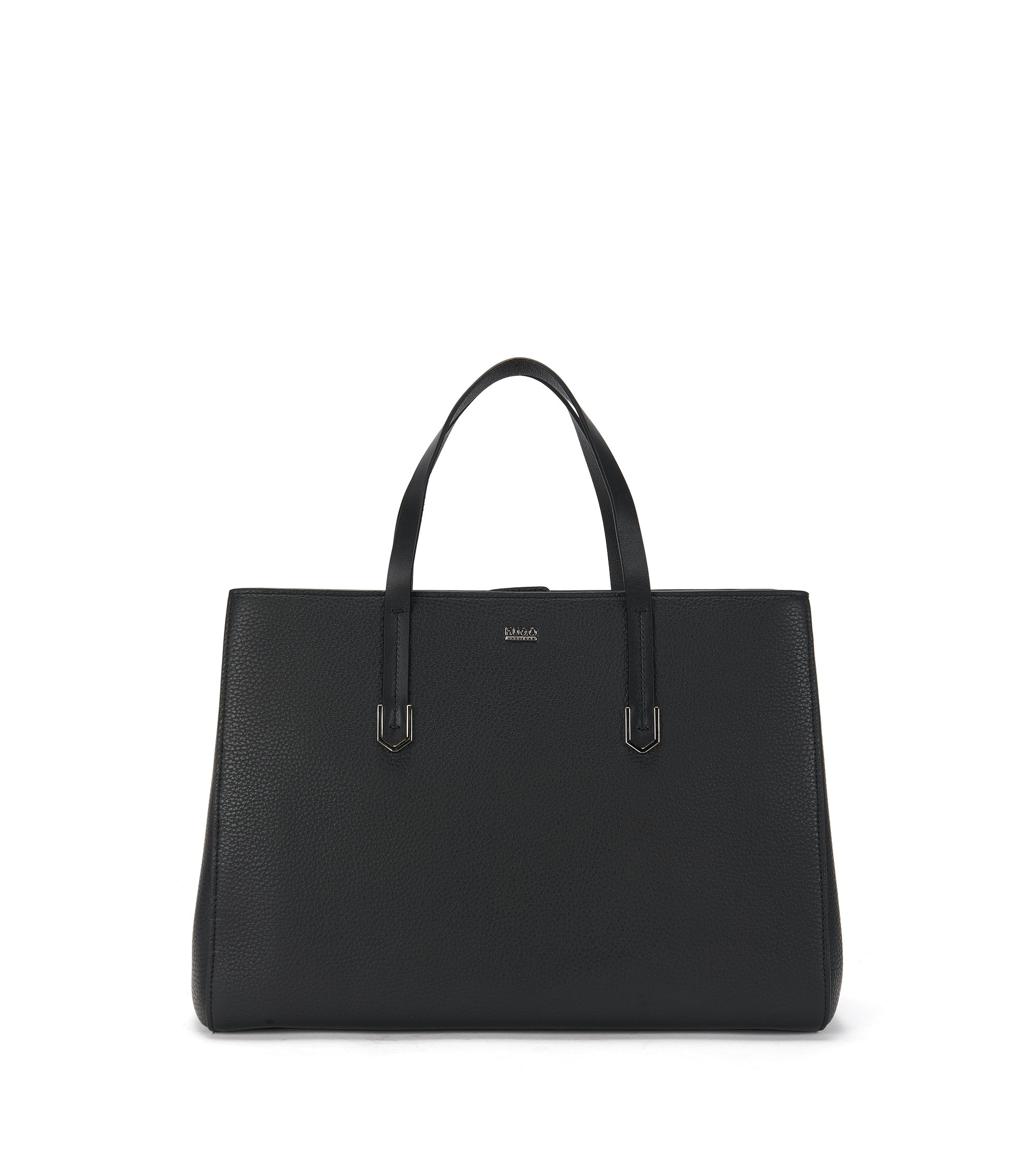 Large tote bag in textured Italian leather , Black