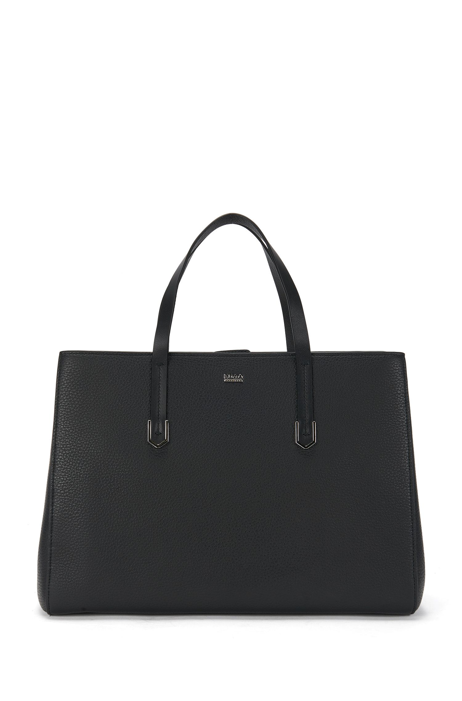 Large tote bag in textured Italian leather