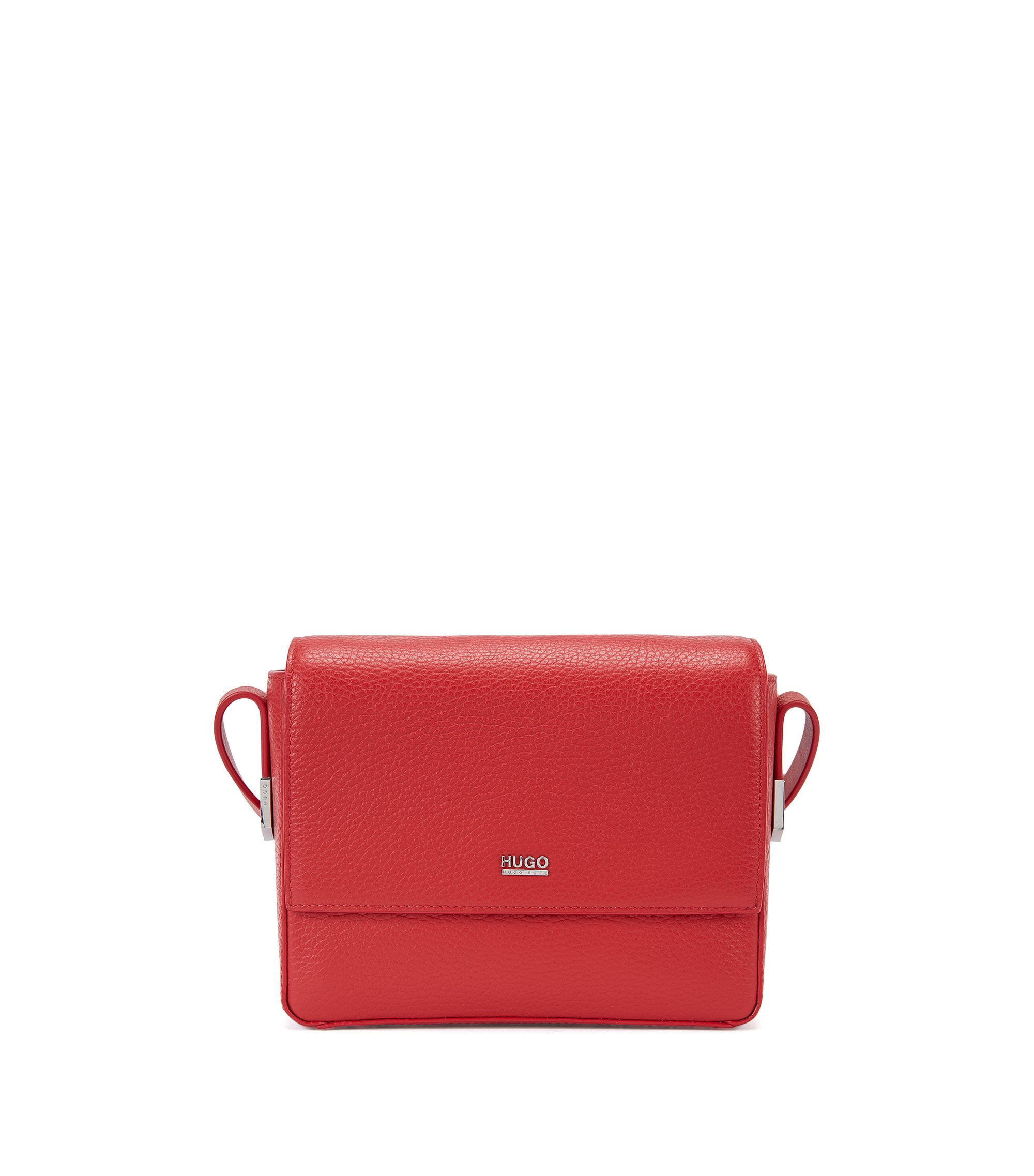 Urban cross-body bag in textured leather , Red