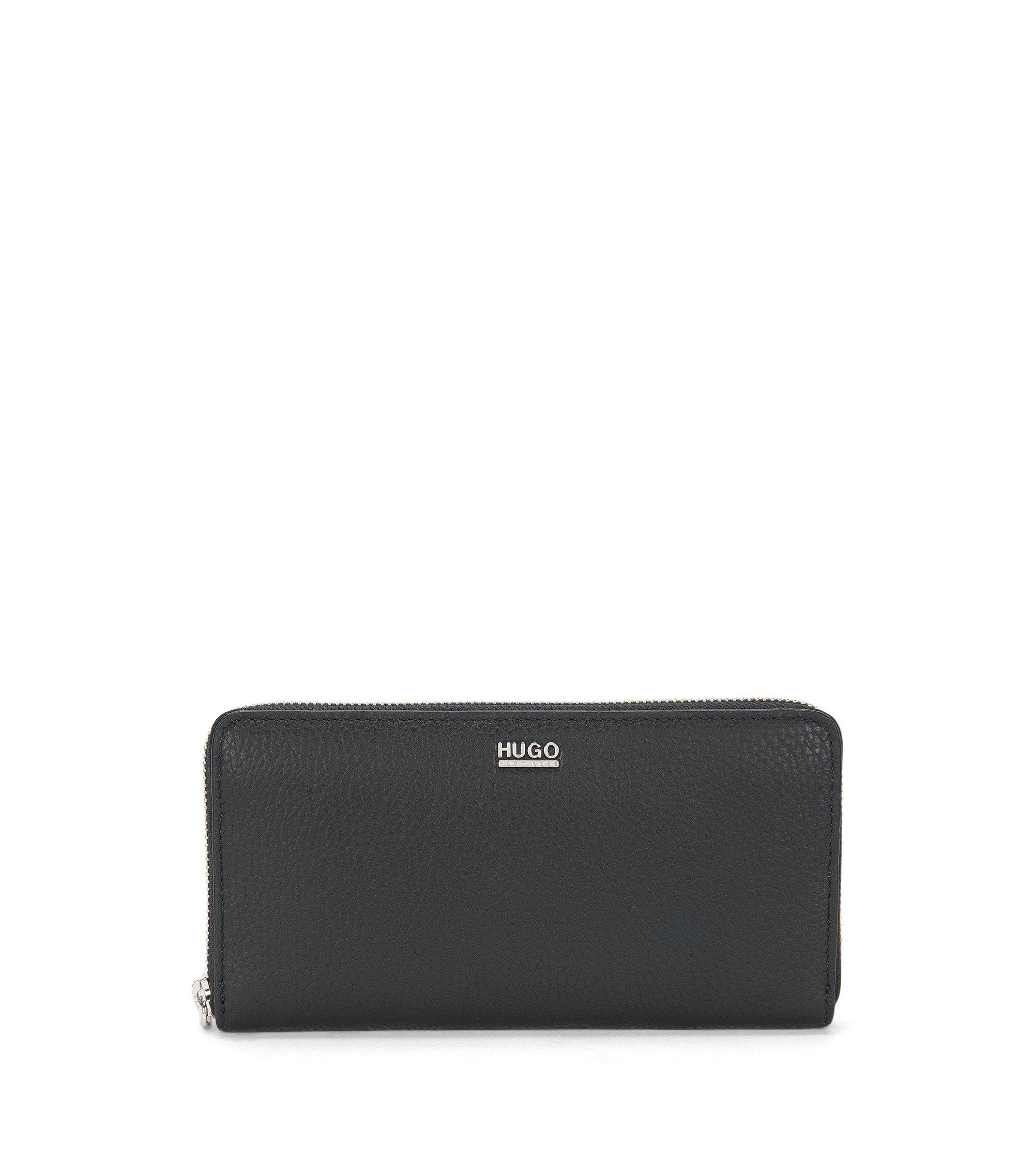 Zip-around wallet in textured Italian leather , Black