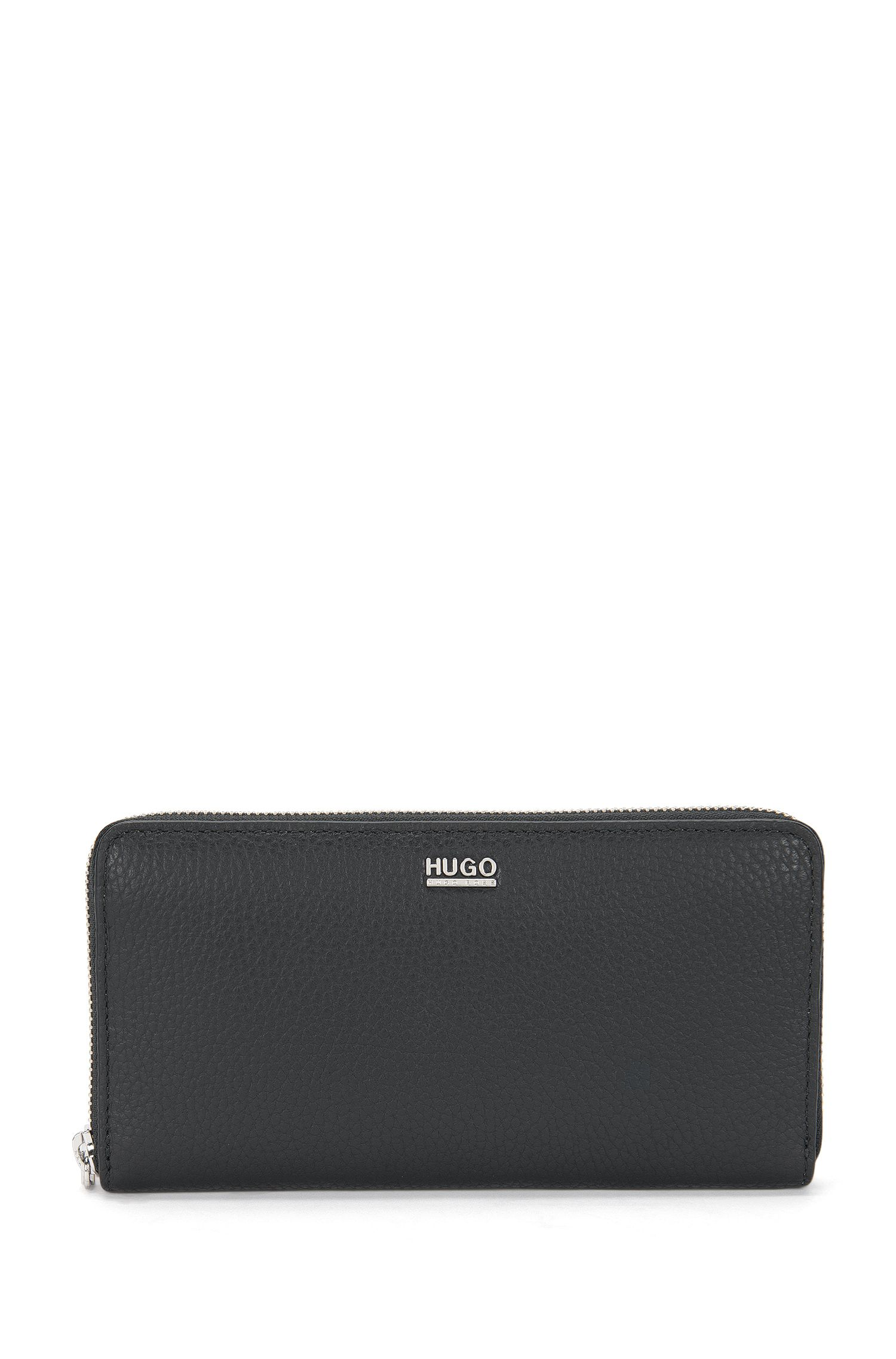 Portefeuille en cuir italien texturé, avec zip circulaire