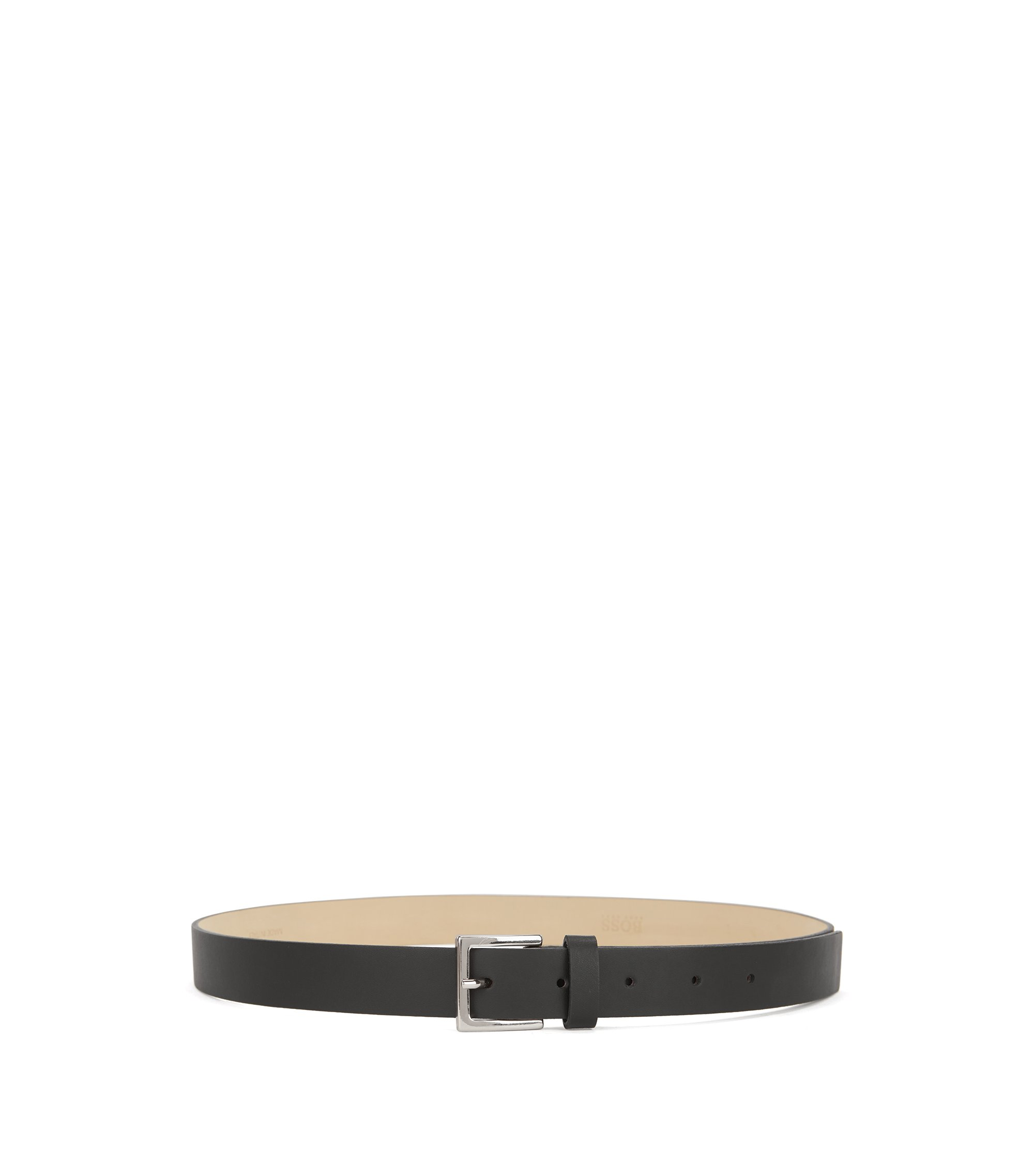 Slim belt in Italian leather, Black