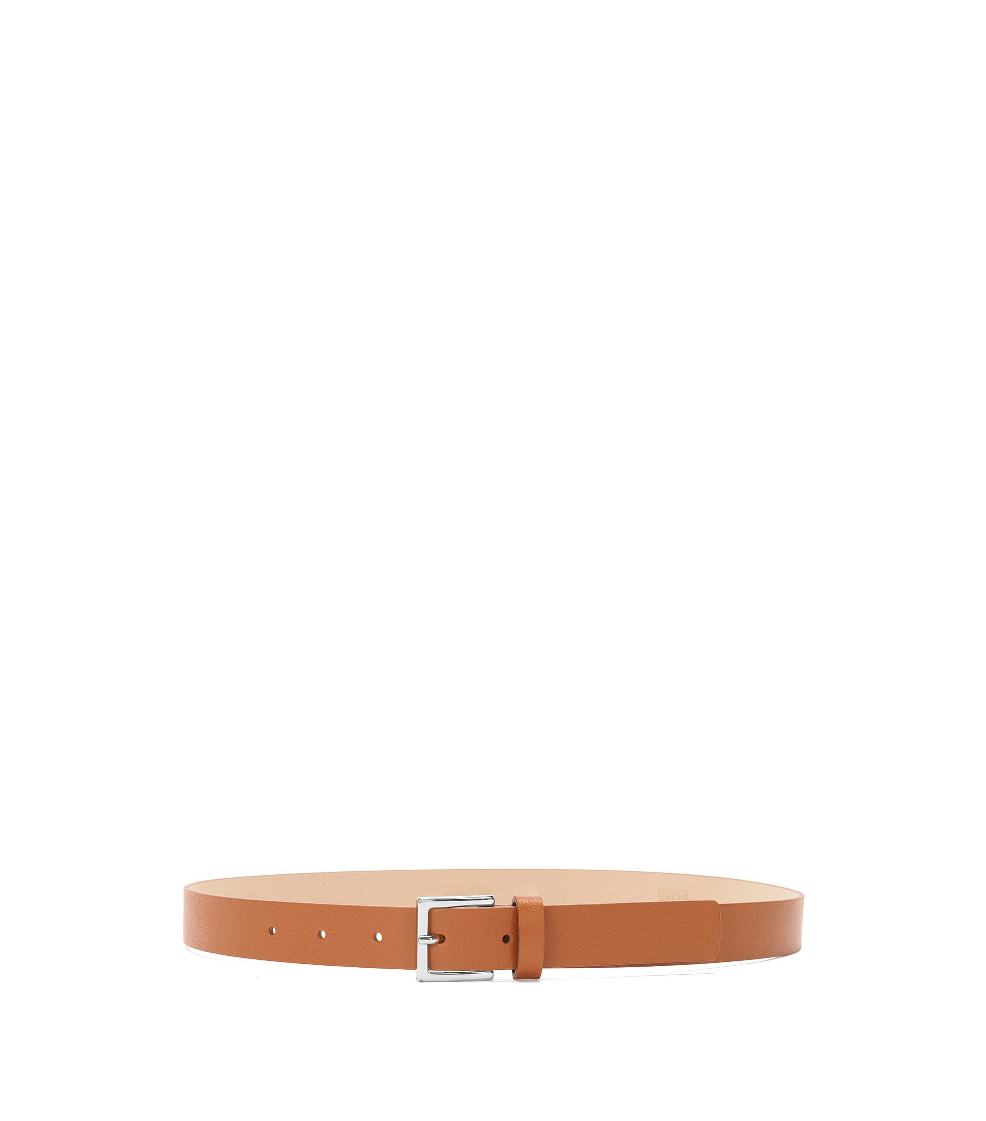 Slim belt in Italian leather, Brown