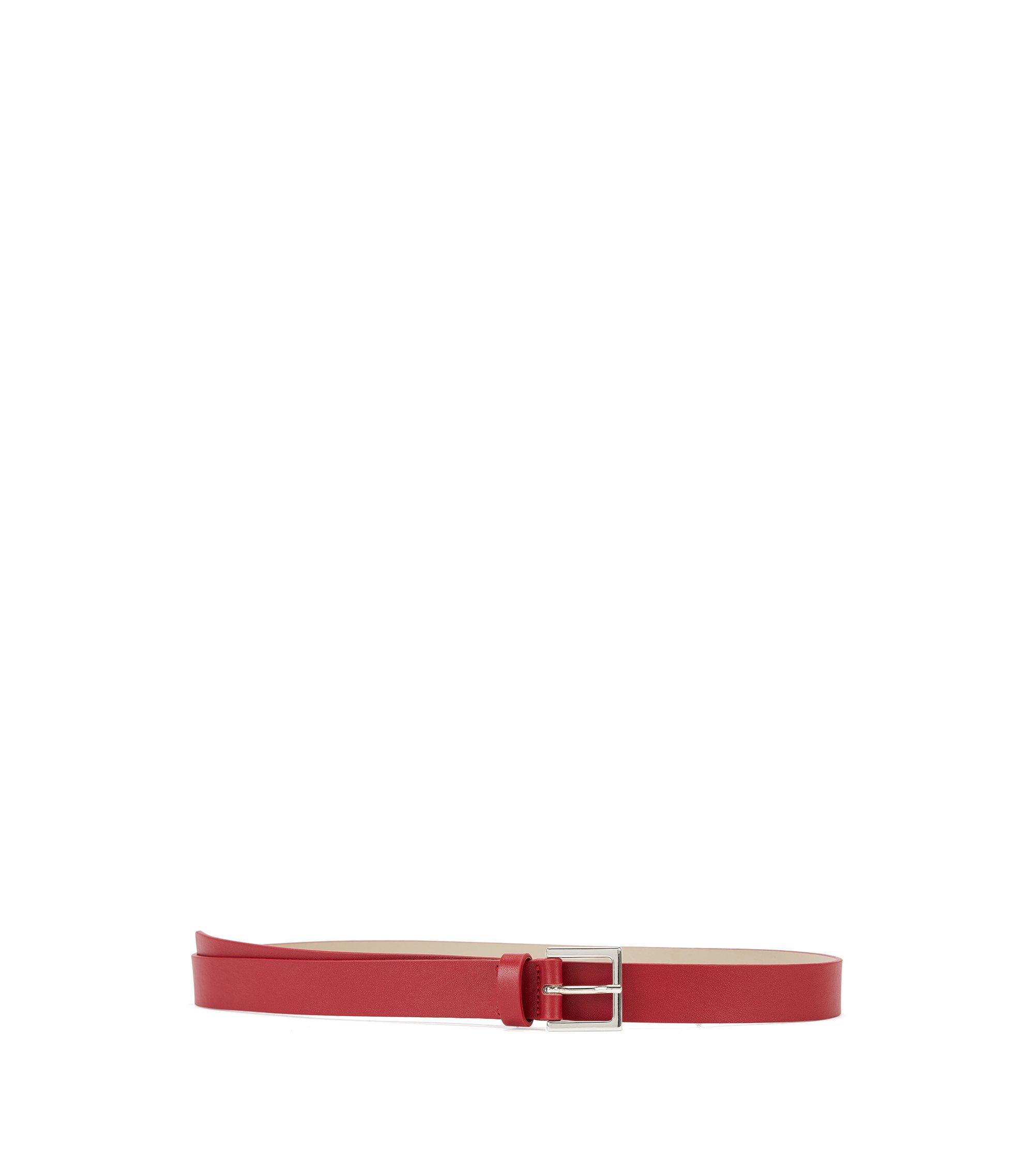 Schmaler Gürtel aus italienischem Leder, Rot