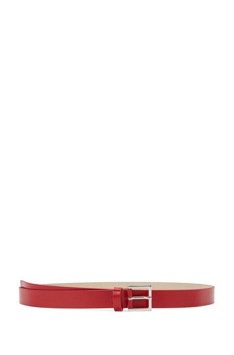 Slim belt in Italian leather, Red