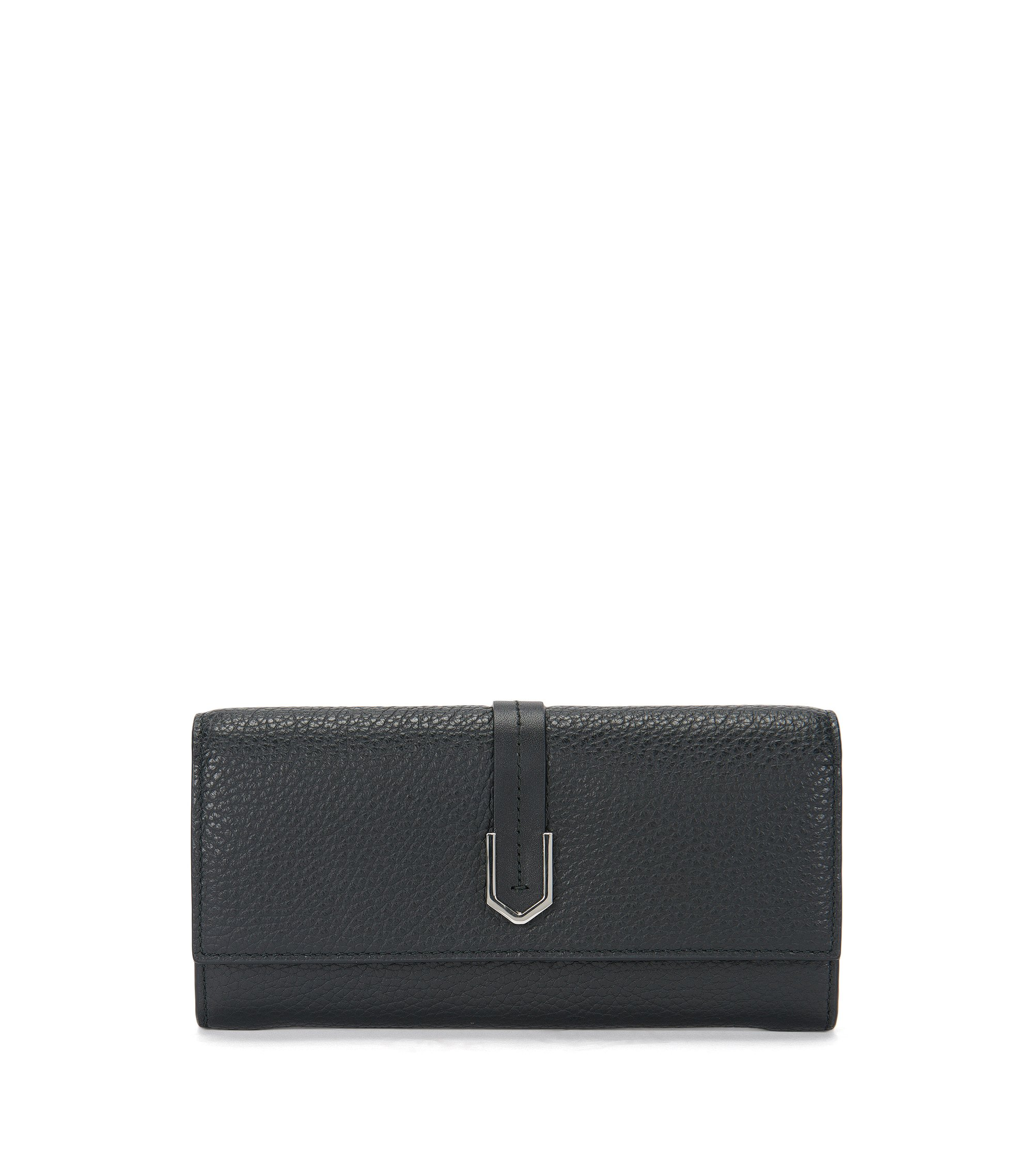 Leather wallet with geometric hardware, Black