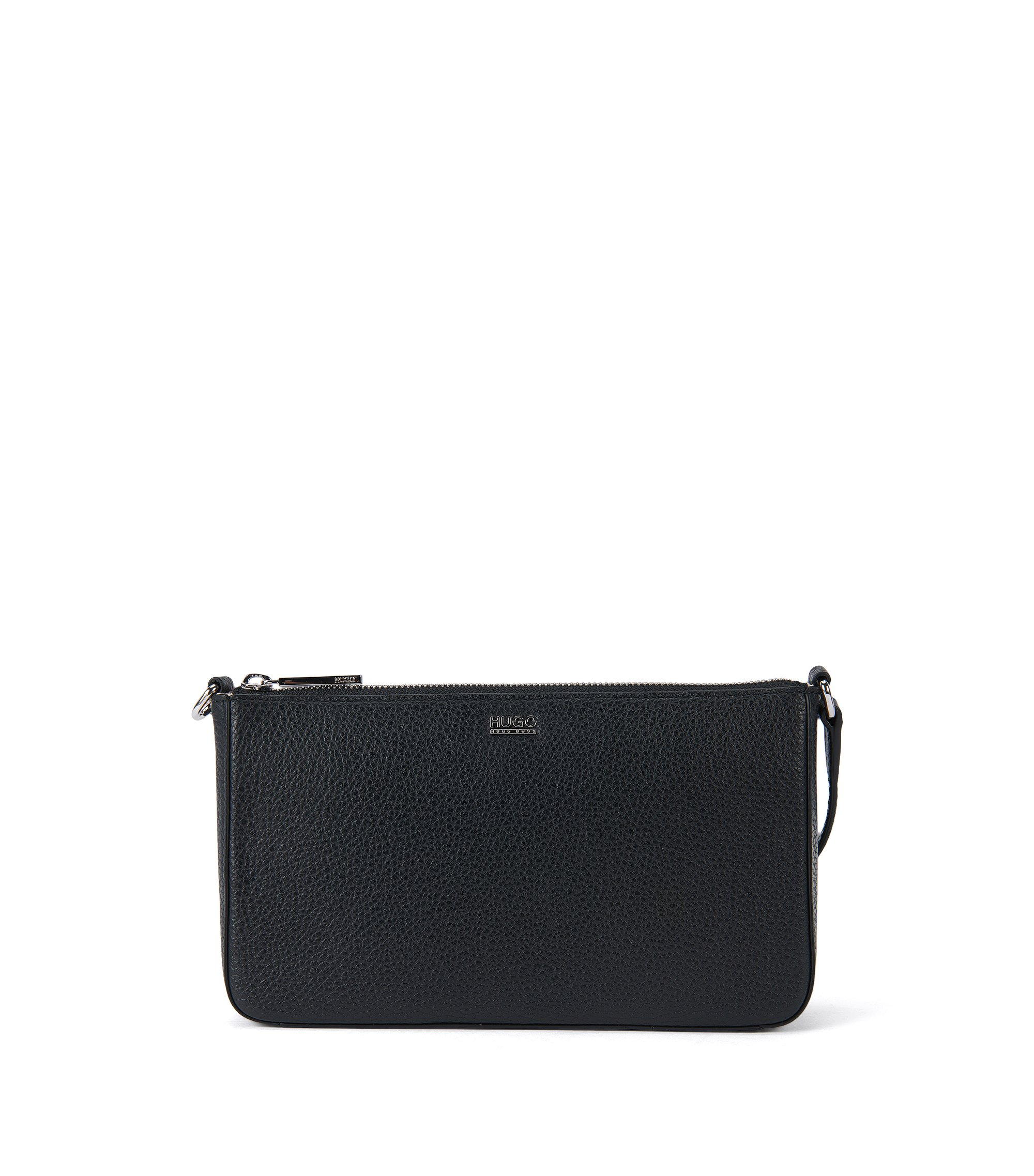 Zip-closure pouch in rich Italian leather, Black