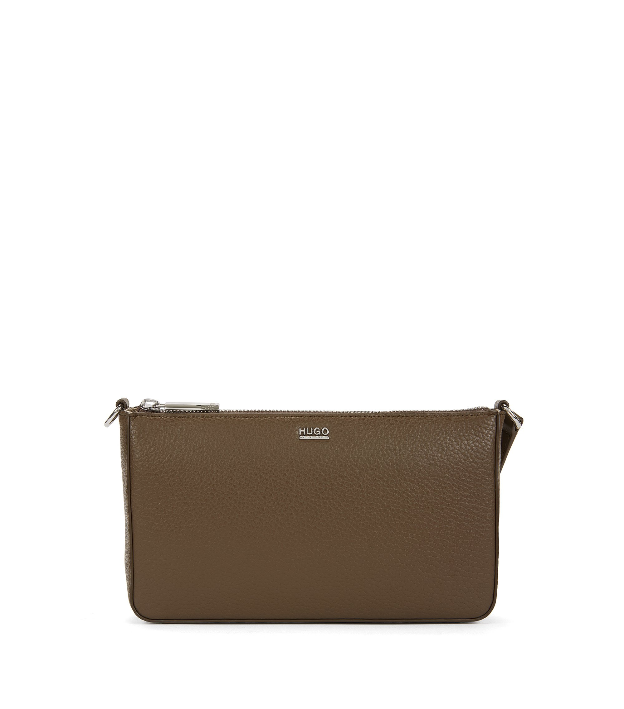 Zip-closure pouch in rich Italian leather, Khaki