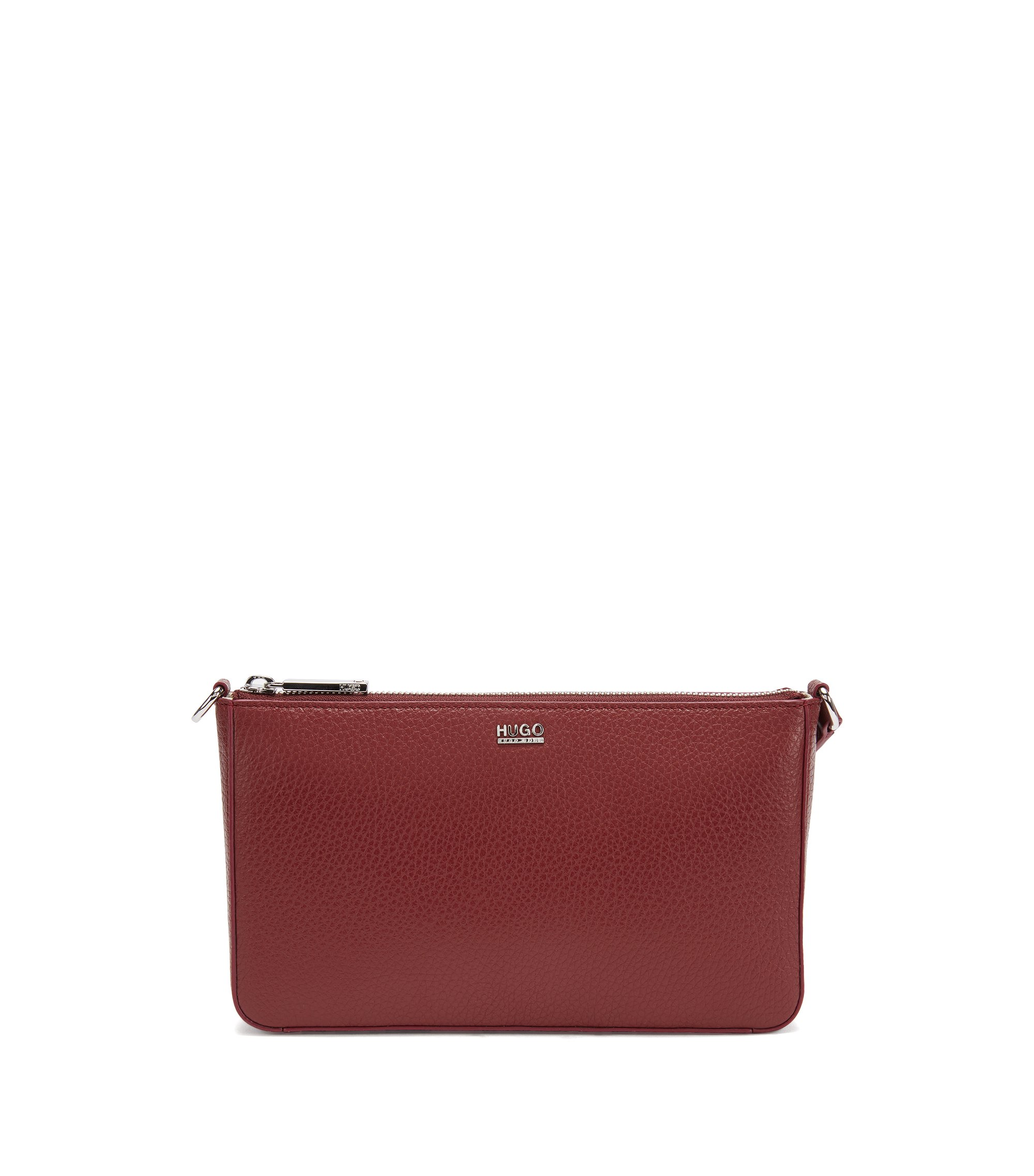 Zip-closure pouch in rich Italian leather, Dark Red
