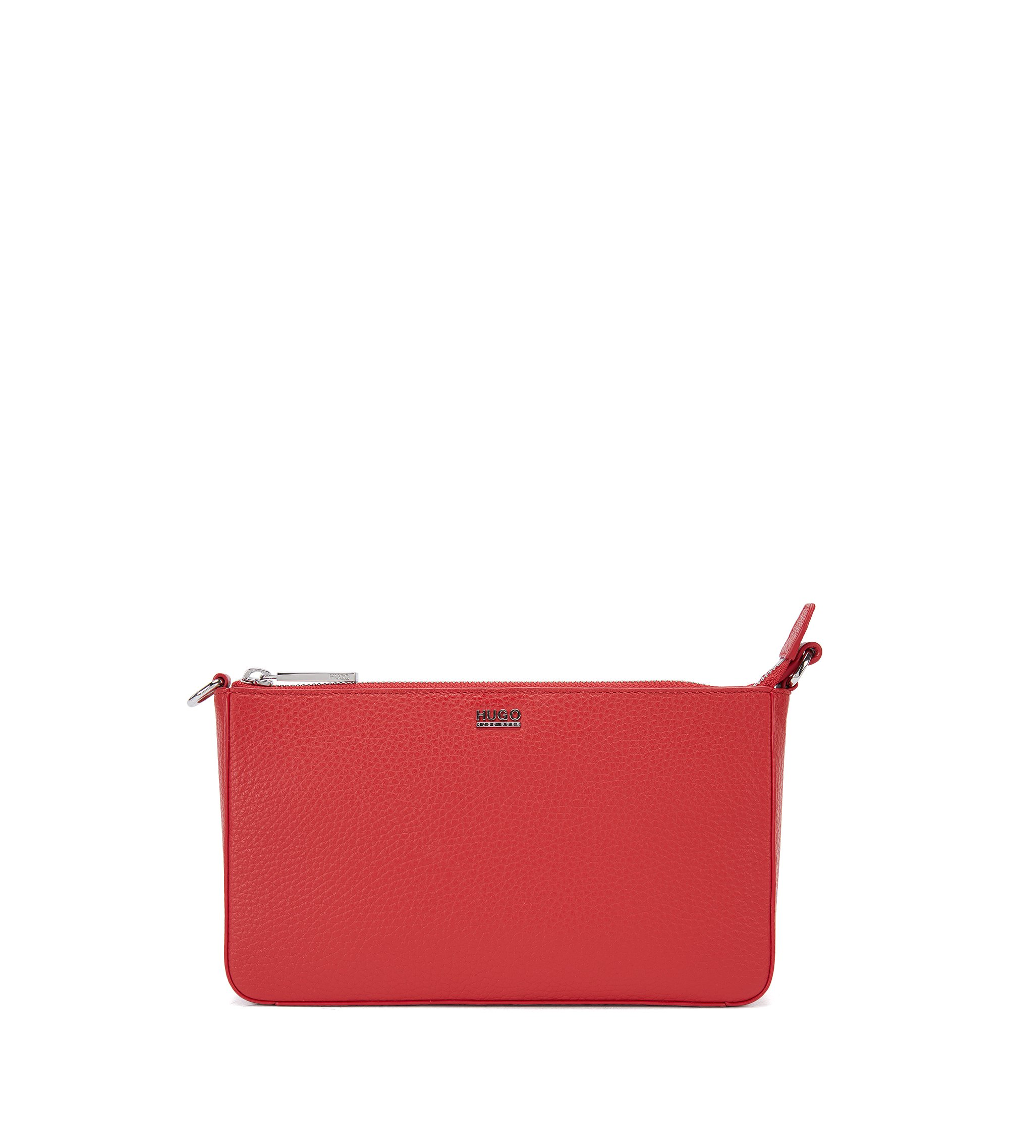 Zip-closure pouch in rich Italian leather, Red