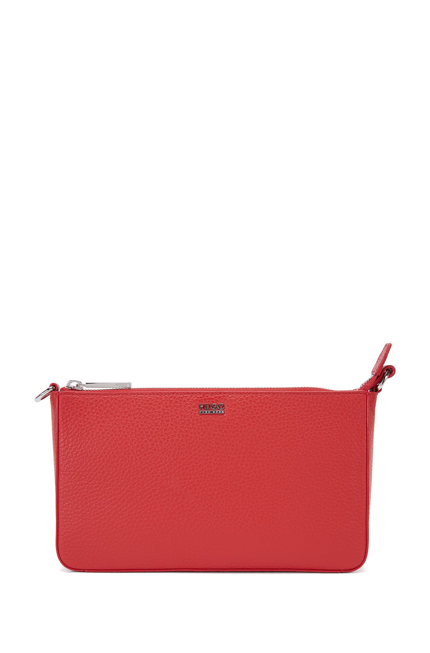 Zip-closure pouch in rich Italian leather
