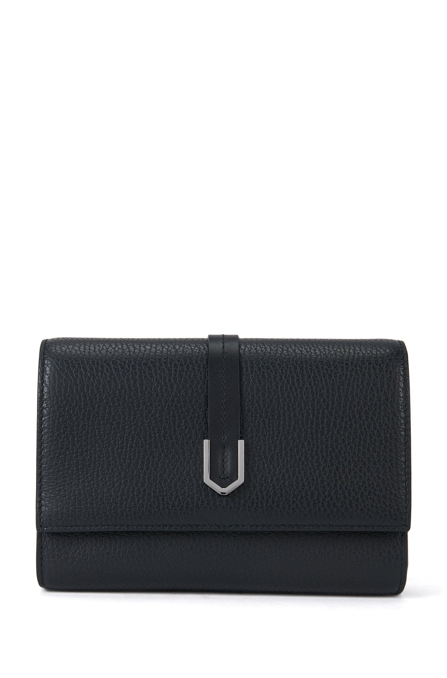 Compact clutch bag in textured Italian leather