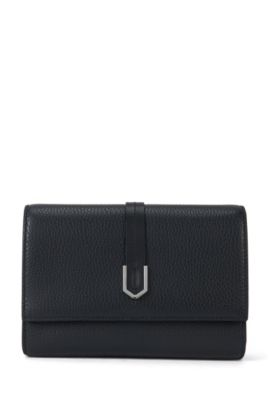 Compact clutch bag in textured Italian leather , Black