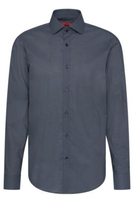 Patterned regular-fit shirt in cotton: 'C-Gordon', Dark Blue