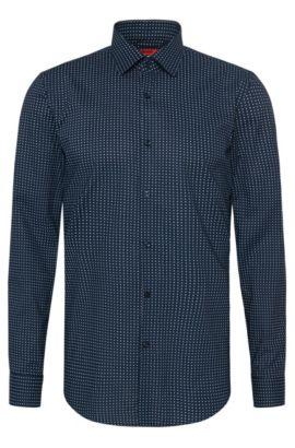 Camisa slim fit estampada en algodón: 'C-Jenno', Azul oscuro