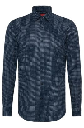 Patterned slim-fit shirt in cotton: 'C-Jenno', Dark Blue