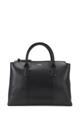 Leather handbag in a mixture of textures: 'Gisah-R', Black