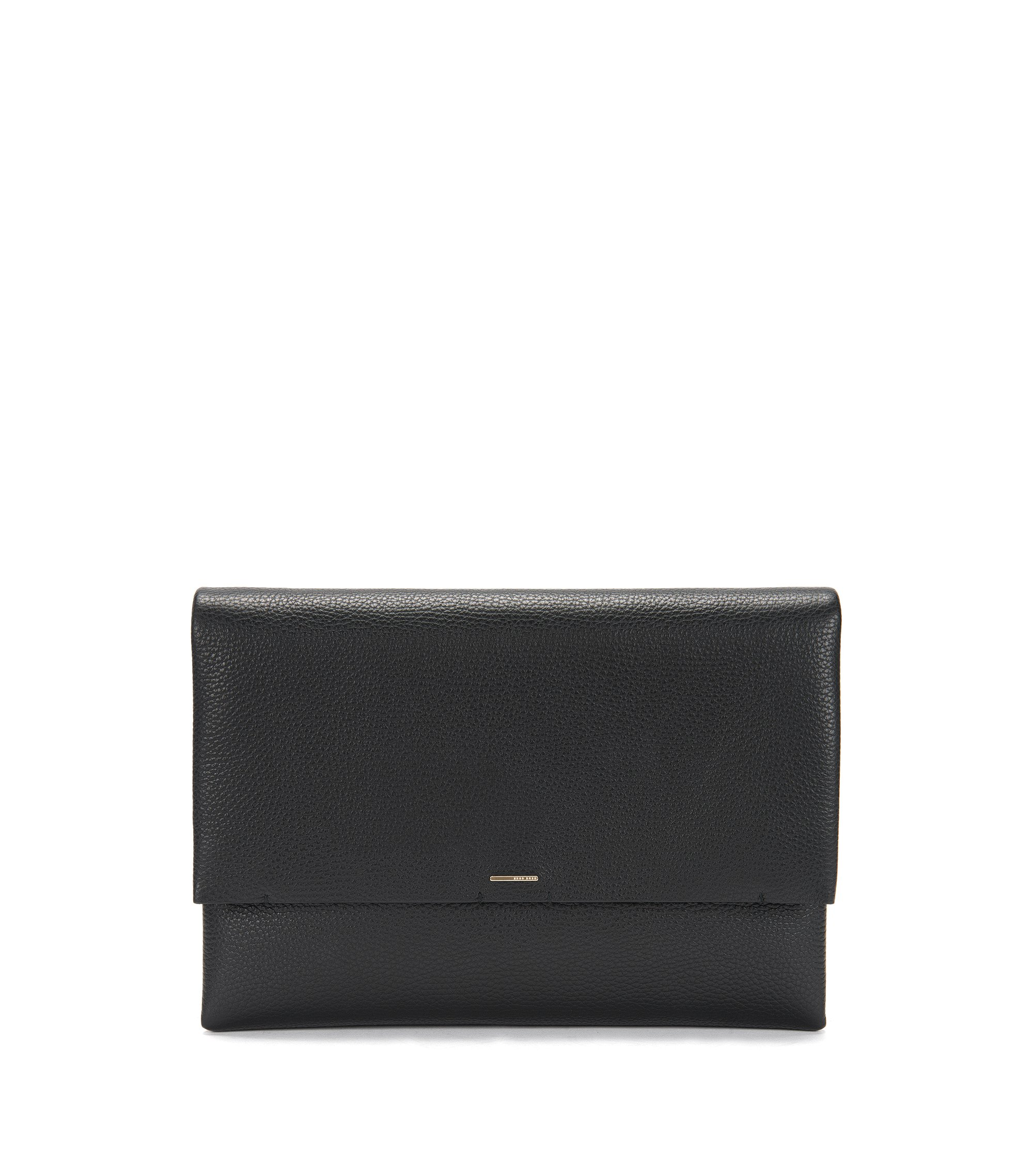 BOSS Luxury Staple Clutch in unlined Italian leather with chain strap, Black