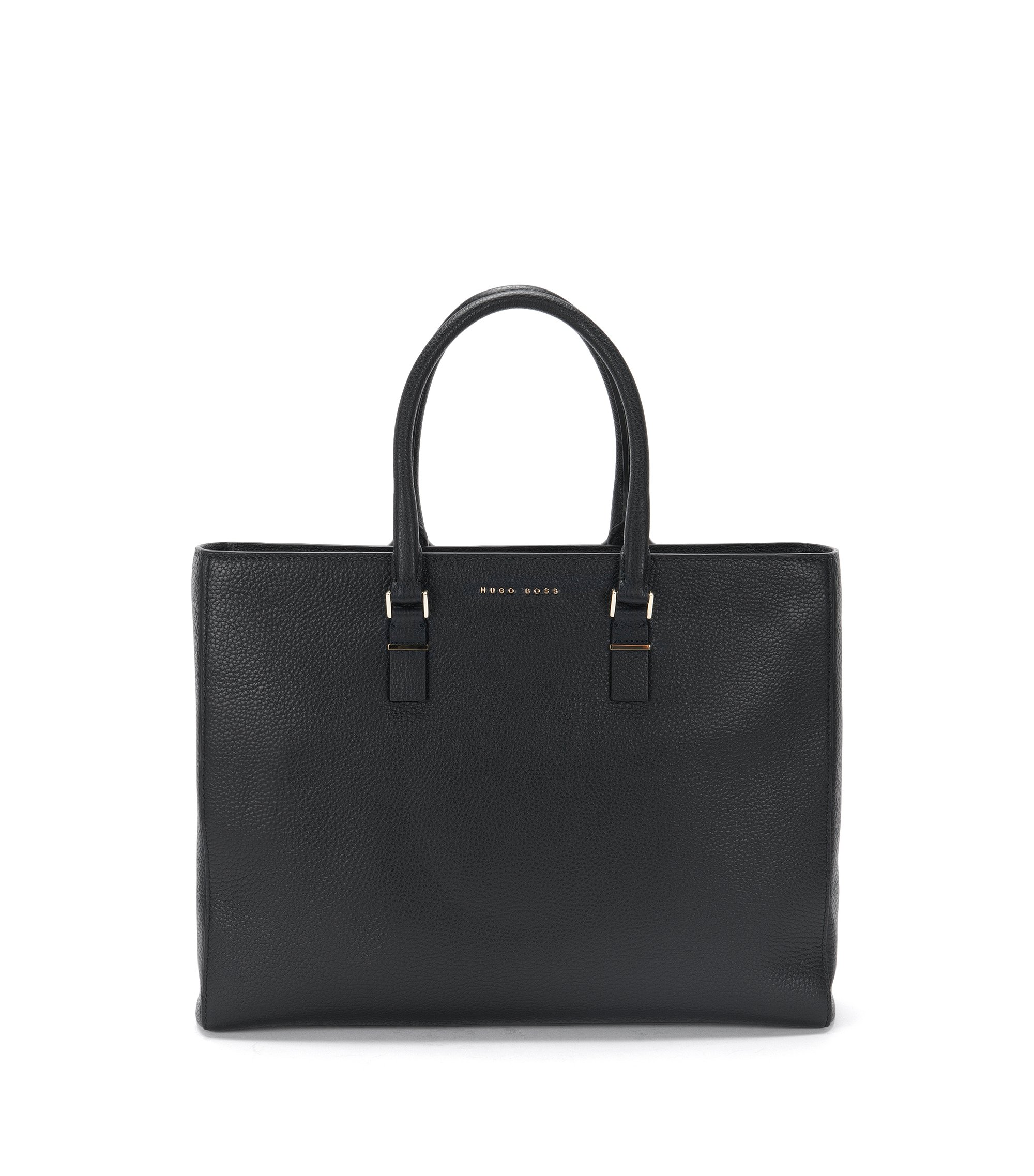 Borsa da lavoro BOSS Luxury Staple in pregiata pelle italiana, Nero