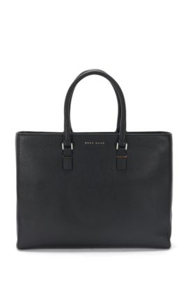 Luxury Staple work bag in rich Italian leather, Black